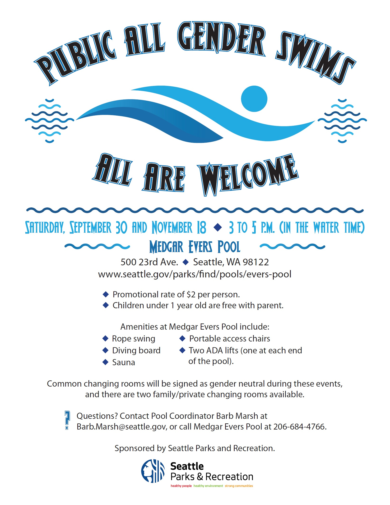 2017 Public All Gender Swim Seattle - Sept 30 & Nov 18