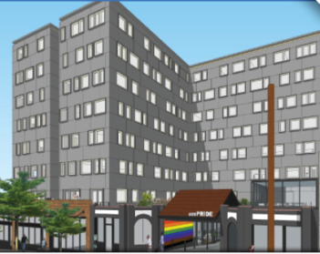 rendition of new GENPride building opening 2023 on Broadway
