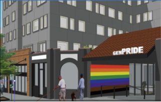 close up rendition of new GENPride building opening 2023 on Broadway