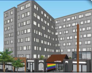 rendition of new GENPride building opening 2023 on Broadway