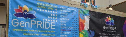 photo of GENPride baners on GENPride office wall