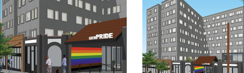two renderings of the new GENPride offices opening in 2023 on Broadway